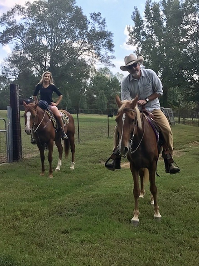 Traveller (left), a quarter horse, and Maverick, a Tennessee Walking Horse, like to follow me around the property