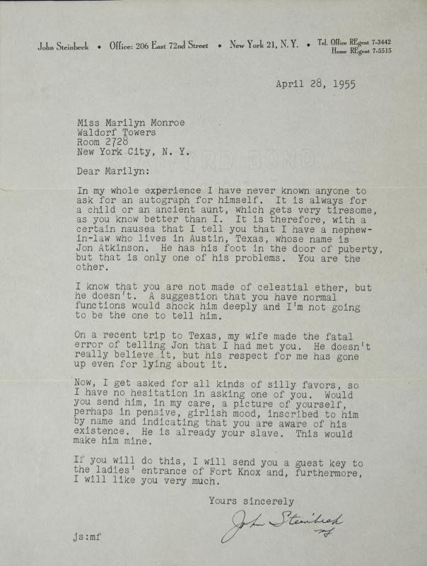 Marilyn Monroe letter Steinbeck